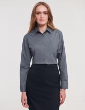 Ladies` Long Sleeve Classic Polycotton Poplin Shirt